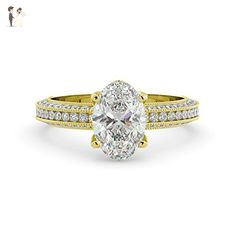 2.14 tcw Oval Cut Charles & Colvard Forever One Moissanite & Round Cut Diamond Engagement Vintage Pave Ring Solid 14k White Yellow Rose Gold - Wedding and engagement rings (*Amazon Partner-Link)