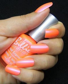Billie Electric Coral, Such a crazy pretty orange! Summer nails =3