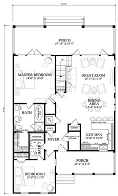 Would add gas fire or similar, and perhaps make master bath long and thin so WIR can be separate.First Floor Plan of Cape Cod Cottage Country Southern House Plan 86106 Beach House Plans, Dream House Plans, Small House Plans, Dream Houses, The Plan, How To Plan, Cottage House Plans, Country House Plans, Country Houses
