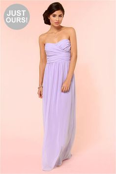 Love everything about this dress - From the color, it's flow, and just how it lays <3 Slow Dance Strapless Lavender Maxi Dress