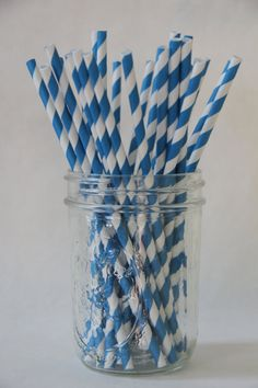 50 Turquoise & White Striped Paper Straws  Party @shoplemondrops on etsy - $7.00