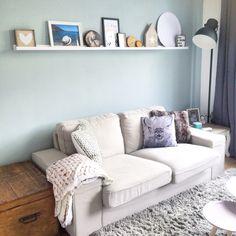 Woonkamer met early dew van flexa, love it! | interior | www.woodbrand.nl