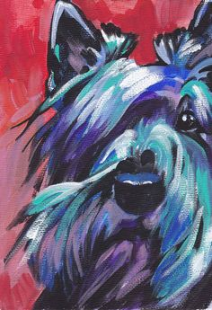 "Scottish Terrier Scottie art print pop dog art bright colors 8.5x11"" LEA. $11.99, via Etsy."
