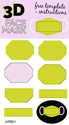 3d mask template - the most comfortable face mask - see kate sew Sewing Basics, Sewing Hacks, Sewing Tutorials, Easy Face Masks, Diy Face Mask, Costura Diy, Sewing Elastic, Homemade Mask, Mask Template