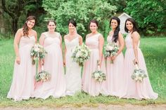 Bride with bridesmaids in blush | Sarah Renee Studios | see more at http://fabyoubliss.com