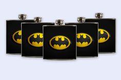 Groomsmen Personalized Custom Wedding Party Flask, Batman Logo Flask Set. $92.50, via Etsy.