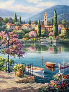Beautiful View Of The Church By Lake Como And The Lush Green Italian Mountains ~ Sung Kim