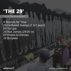 4 Rounds for Time: 29 Kettlebell Swings pood); 29 Sit-Ups; 29 Box Jumps in); 29 Knees-to-Elbows; Wod Workout, Gym Workouts, At Home Workouts, Weight Workouts, Workout Routines, Marine Workout, Military Workout, Wods Crossfit, Functional Workouts