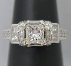 #jewelry IGI Cert. 14K White Gold ~ 1 Ct Princess Cut *SI1 / I* Diamond Engagement Ring please retweet