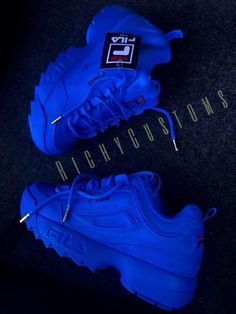 Image of blueface fila disruptor ii 💙 Sneakers Fashion, Fashion Shoes, Cute Sneakers, Sneakers Adidas, Kids Sneakers, Shoes Sneakers, Shoes Heels, Fresh Shoes, Custom Shoes