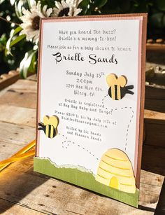 Bee Theme Baby Shower Invitation by EmbellishedPaper on Etsy, $2.50