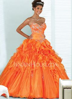 Quinceanera Dresses - $224.99 - Fantastic A-Line/Princess Sweetheart Floor-Length Organza Satin Quinceanera Dresses With Ruffle Lace (021004720) jenjenhouse.com