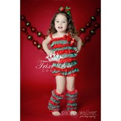 Christmas Red & Green Vintage Lace Petti Romper