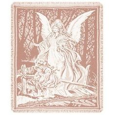 Guardian Angel & Children Crossing Bridge Pink Afghan Throw Blanket