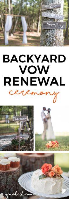 Backyard vow renewal | rustic wedding idea | anniversary party | backyard wedding ideas | Vintage DIY ceremony | GinaKirk.com @ginaekirk