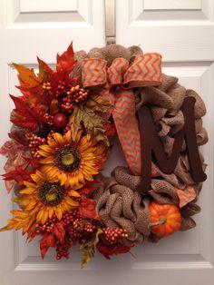 Fall Burlap Letter Wreath