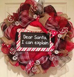 Dear Santa Christmas Deco Mesh Wreath