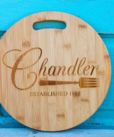 Crafted from natural and durable bamboo, this beautiful round cutting board makes a perfect gift. Have it uniquely personalized with an artful engraving for a keepsake that will last a lifetime. Personalize name up to 15 charactersPersonalize year up to four characters12.5'' diameterBa...