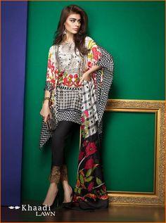Khaadi Pakistan Embroidered Lawn Vol 1 Collection 2017 With Price Pakistani Fashion Casual, Pakistani Dresses Casual, Pakistani Girl, Pakistani Dress Design, Casual Summer Dresses, Trendy Dresses, Casual Wear, Pakistani Designer Clothes, Designer Dresses
