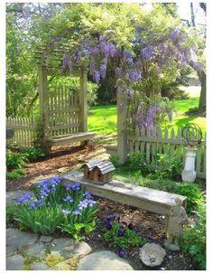 Cottage Garden Design, Diy Garden Decor, Cottage Patio, Dream Garden, Home And Garden, Wisteria Arbor, The Secret Garden, Design Jardin, Farmhouse Garden
