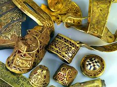 The Staffordshire Hoard: from the Portable Antiquities Fickr Page - © Birmingham Museum and Art Gallery, used under a Creative Commons Attribution Licence. In the Summer of 2009 a man with a metal detector found a large collection of Anglo Saxon objects in a field near Lichfield, Staffordshire, UK. There were 1,500 objects most were gold some silver and many inlaid with gemstones.
