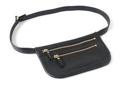 Genuine Lether Double Zipper Belt Bag in Black fanny by alexbender