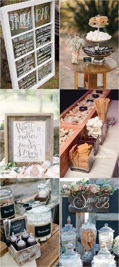 S'mores Bar wedding food ideas #weddingfood #weddingideas #backyardwedding #rusticwedding