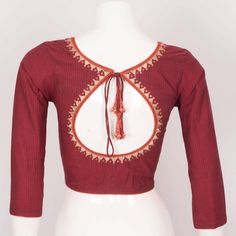Handcrafted Cotton Blouse With Lining & Embroidered Mirror Work 10023031 - AVISHYA.COM