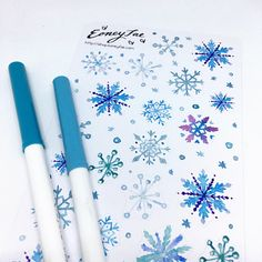 Let it snow Stickerset  LIMITED EDITION   Aquarell Watercolor Stickerset for Bullet Journal, Filofax, Scrapbook, Pretty Planning