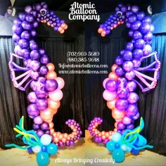 Under the Sea Balloon Decor - This wonderful we are going under the sea for this gorgeous baby shower! Baby Girl Shower Themes, Girl Baby Shower Decorations, Birthday Party Decorations, Little Mermaid Balloon Decorations, Under The Sea Decorations, Little Mermaid Baby, Mermaid Balloons, Balloon Company, Graduation Balloons