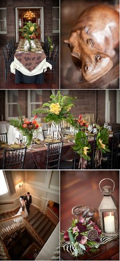 Safari Inspired Inspiration to Reality | Style Me Pretty. I like the big leafs on the back of the chaira
