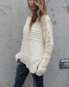 RESERVED FOR REBECCA / White sweater / Ivory cream sweater asymmetrical Version2 oversized grunge sweater Approximately 2 left