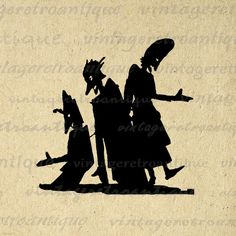 Printable Scary Shadow Silhouettes Digital by VintageRetroAntique