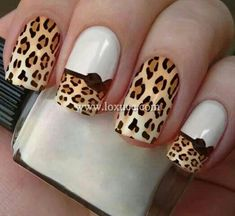 The advantage of the gel is that it allows you to enjoy your French manicure for a long time. There are four different ways to make a French manicure on gel nails. Hot Nails, Hair And Nails, Uv Gel Nails, Fancy Nails, Pretty Nails, Leopard Print Nails, Leopard Nail Art, Leopard Nail Designs, Uñas Fashion