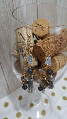 Semiprecious Stone and Tassel Earrings