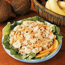 Tropical Chicken Salad  Yum...this is one of my favorites!  I don't use the coconut, but love it with the salted peanuts!!