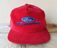 competitive price df5f2 436f8 Vintage 80s FORD MOTORSPORT Corduroy  amp  Mesh Red Trucker Hat Snapback Cap  K Brand