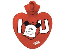 """HELLO SPANK BORSA ACQUA CALDA I LOVE YOU FACCIA  Per riscaldare il tuo cuore Borsa dell'acqua calda Hello Spank love in plastica di colore rosso con dedica """"I LOVE YOU"""" con disegno della faccina di Spank"""