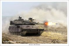 The Merkava tank is the main battle tank of the Israeli Defense Force. being a small country, Israel has always placed the main emphasis of the Merkava design on crew protection with such design features as a front-mounted engine and modular armor. Continually upgraded since the Merkava was introduced, the heavily armored tank has gone through several variants as the war fighting requirements have evolved. The version depicted is the Merkava Mk III BAZ.