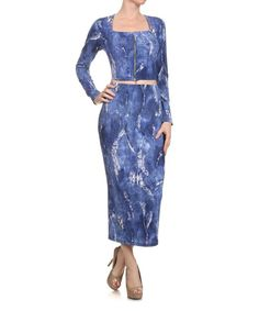 Blue Denim Crop Top & Pencil Skirt