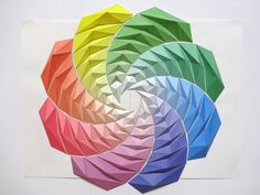 Colorful Spiral | Origami Mosaics by Kota Hiratsuka