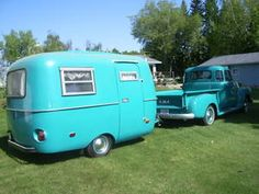 It's almost Tiffany blue--- now I am confused which one I want- love the matching vintage truck!!!