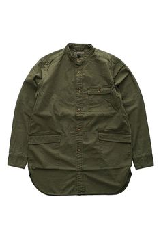 Nigel Cabourn - LONG SHIRT WEATHER CLOTH - OLIVE