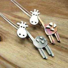 Handmade sterling silver giraffe necklaces - Famous Last Words Giraffe Jewelry, Giraffe Necklace, Animal Jewelry, Wire Jewelry Rings, Jewelry Design Earrings, Metal Jewelry, Mens Silver Necklace, Sterling Silver Necklaces, Silver Bracelets