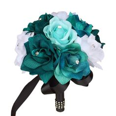 """Diameter: 7.5~8"""" Mix of teal, jade, and aqua roses. Handle: Black satin ribbon with bling Long lasting artificial silk (polyester blend) flowers."""