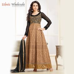 Get your look as #Karishma kapoor in this Faux Georgette brown #bollywood designer embroidery unstiched #suit with dupatta.