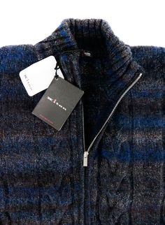 KITON Blue Brown Cable Plait Zipper Cashmere Men's Jumper Sweater  |  Go shopping! http://www.frieschskys.com/shirts-sweaters/sweaters  |  #instastyle #mensfashion #mensstyle #menswear #dapper #stylish #MadeInItaly #Italy #couture #highfashion