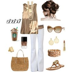 Caramel with White Jeans outfit. Yup this is happening! Carmel-multi tank and brown leather flats.