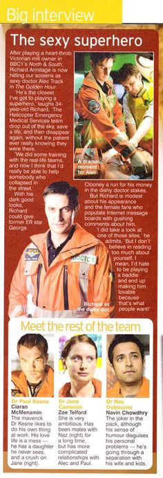Richard Armitage as Dr. Alec Track in The Golden Hour (2005) Article