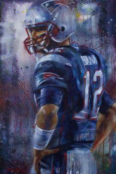 Tom Brady by Kyle Lucks. 24x36 acrylic sports painting.